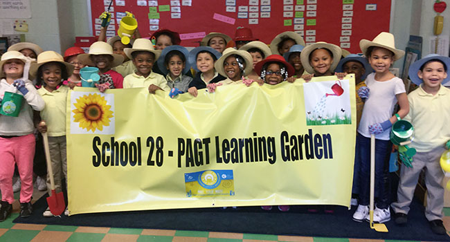 During a recent service project, students at Paterson School 28 in New Jersey planted fruits and vegetables to help feed people in their local high-poverty community.
