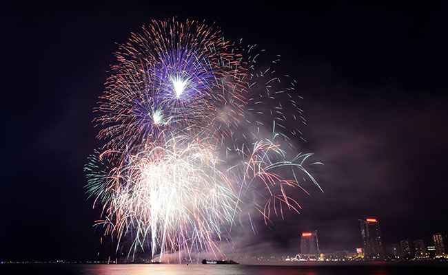 Ford Fireworks show lights up the Detroit waterfront.