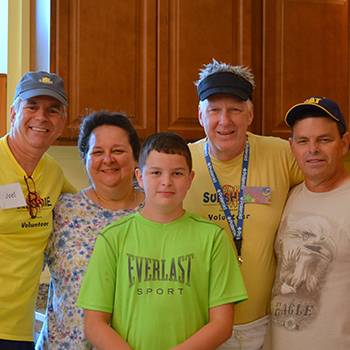 Andy Cesnickas and the Boggs family, one of many families that benefit from Camp Sunshine's programming.
