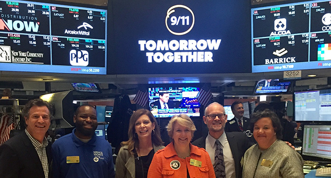 Alonzo Warren, second from left, joined 9/11 Day Co-Founder David Paine, Points of Light CEO Tracy Hoover, Corporation for National and Community Service CEO Wendy Spencer, 9/11 Day Co-Founder Jay Winuk, and Citi Foundation Senior Vice President Rosemary Byrnes at the New York Stock Exchange on Sept. 9, where he rang the Opening Bell.
