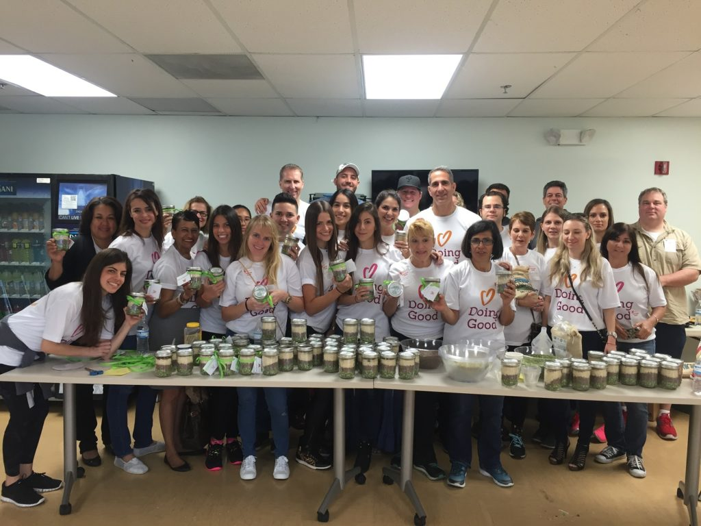 Northern Trust collects food and makes goodie jars for Good Deeds Day.
