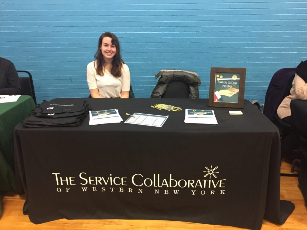 Shannon Gillen promoting The Service Collaborative of Western New York at an event./Courtesy Shannon Gillen
