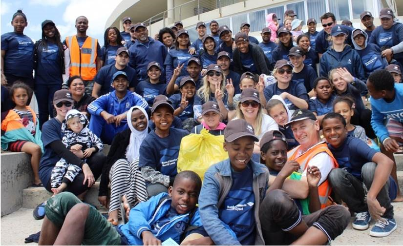 Bank of America volunteers at the Cape Town, South Africa,  International Coastal Cleanup.