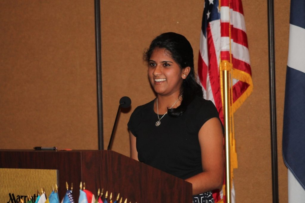 Ananya presenting at the Zonta International Convention, which focuses on empowering women through service and advocacy, in 2015./Courtesy Ananya Murali
