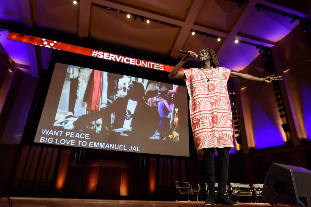 """Every person has a story to share; everyone is capable of doing something great,"" said former Sudanese child soldier, now artist and activist Emmanuel Jal at the Service Unites Summit."