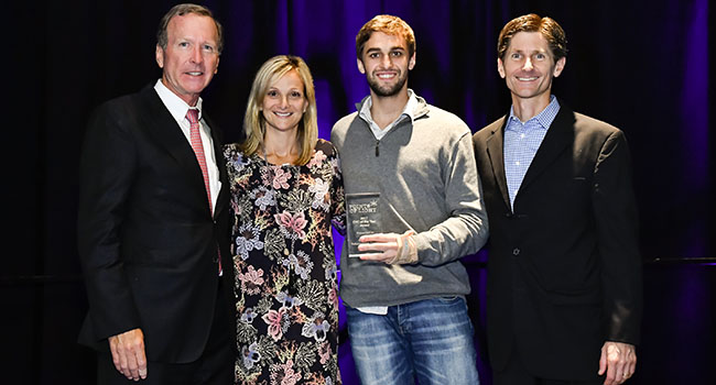 Atados was recognized with the 2017 George W. Romney Award at the Points of Light Conference on Volunteering and Service. (Left to right): Neil Bush, chairman, Points of Light board of directors; Alison Doerfler, executive director, HandsOn Network; André Cervi, co-founder, Atados; Gared Jones, senior vice president of global, Points of Light.