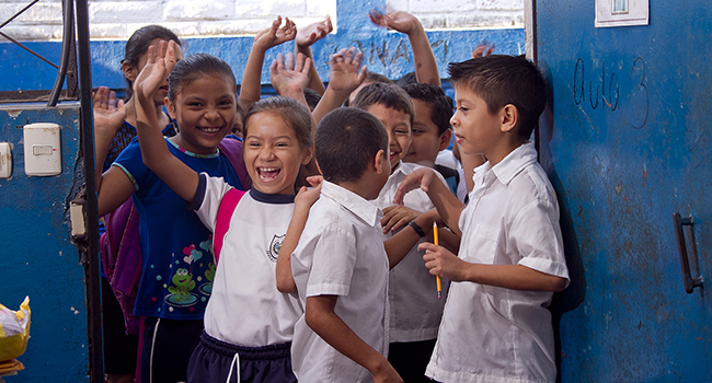 Students at the Las Flores Community School in San Juan Opico, El Salvador.
