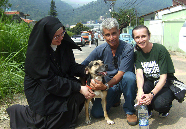 Cheri, right, during an animal search and rescue mission following mudslides in Brazil in 2011.