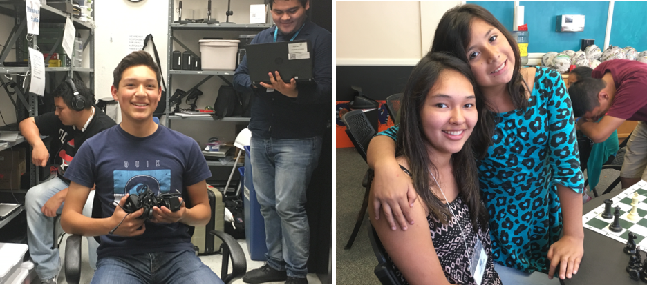 Anthony (left) volunteering with Digital NEST, and Isabella (right) with a mentee at YouthNOW./Courtesy Isabella Cuturrufo