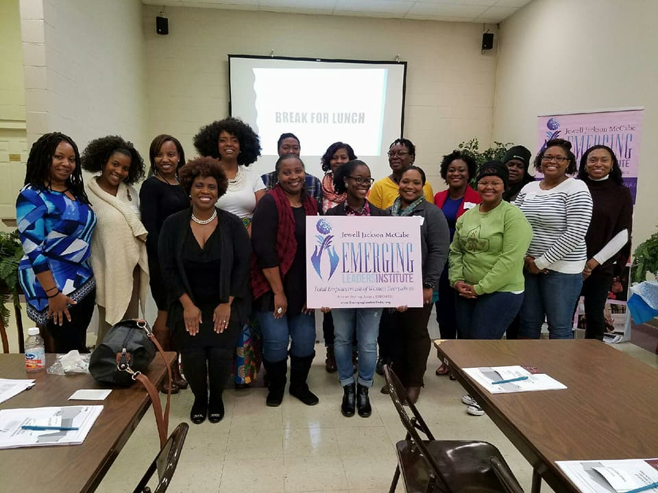Lynita Mitchell-Blackwell (front row, far left) and students of The Jewell Jackson McCabe Emerging Leaders Institute gather at the conclusion of a training course./Courtesy Lynita Blackwell-Mitchell