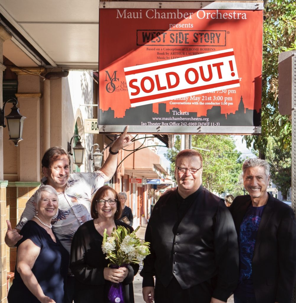 As a board member, one of Jennifer's jobs is promotion for the orchestra concerts. Here from left to right is Jennifer Meyers, John Rowehl Exec Director, Beth Fobbe-Wills accompanist, Robert Wills the Music Director, and Walter Bissett the MCO president at their new Musicals In Concert program that was a sell-out./Courtesy Jennifer Meyers