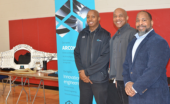 Members of the Arconic African Heritage Network from Arconic Cleveland Operations participated in an aerospace career fair at John Marshall High School, one of Cleveland Metro School's engineering magnet schools. Volunteers engaged students in one-on-one discussions, and talked about their career paths and the manufacturing industry.