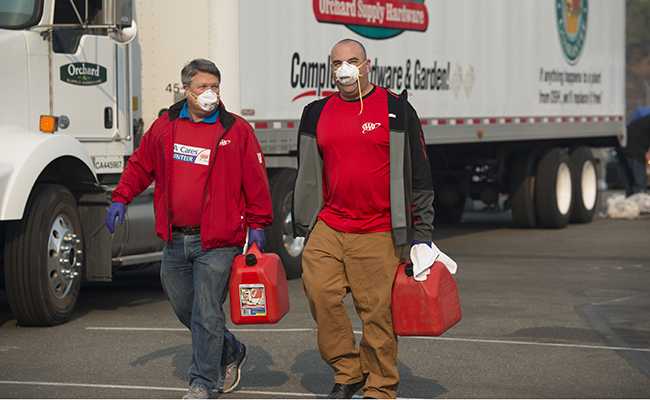 Amidst the devastation of California wildfires, AAA Volunteers deliver needed supplies to affected communities.