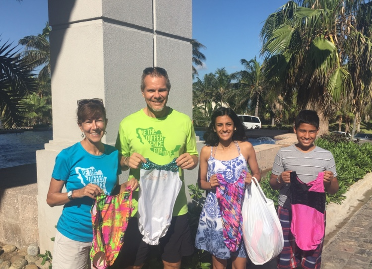 Anuva pictured with her brother, Daksh, donating leotards to aspiring gymnasts in Mexico./ Courtesy Anuva Shandilya