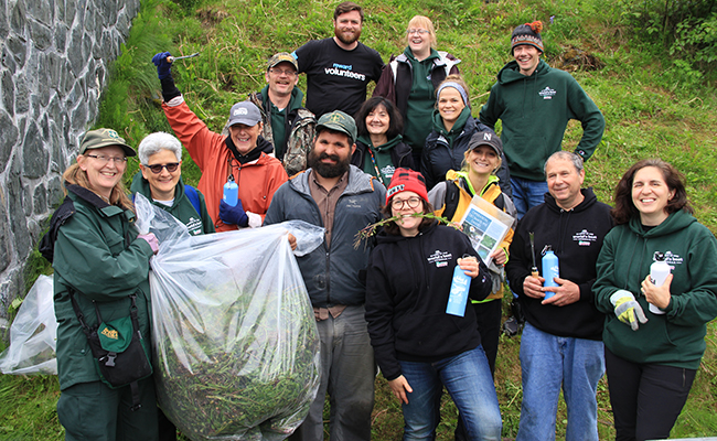 2017 Cabot Community Celebrity Cruise attendees participate in a service project in Alaska.