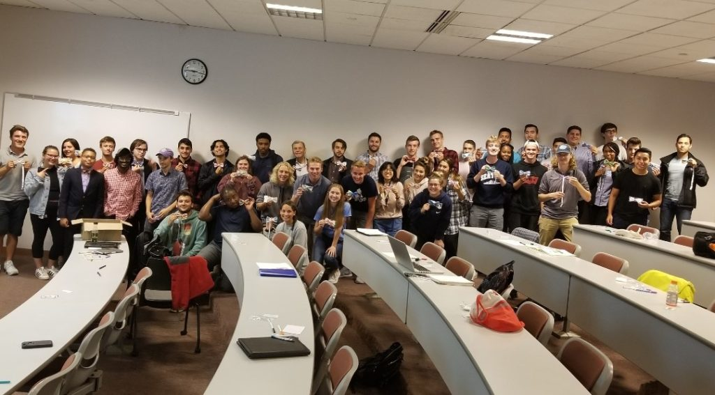 Alex (third from left) with 50 of the students from the University of Wisconsin-Milwaukee who participated in his free workshop./ Courtesy Karee Hart