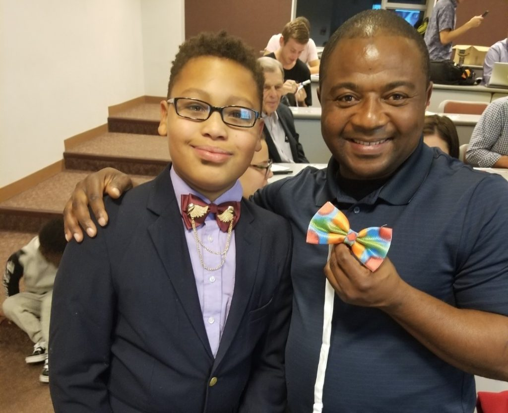 Build-A-Bow founder, Alex Hart-Upendo, hosting a free workshop at the University of Wisconsin-Milwaukee teaching students how to design bows for children battling cancer.