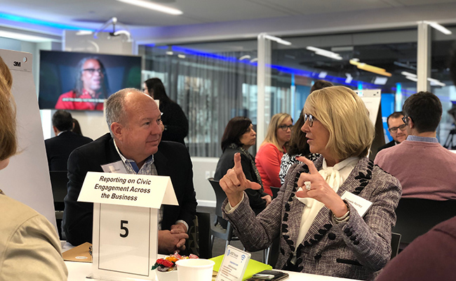 Points of Light Board members Jeff Hoffman and Pamela Norley participate in a discussion at the 2019 Corporate Service Council Meeting in Washington, D.C.