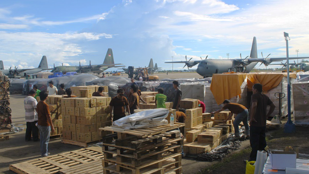Supplies arrive at a UPS humanitarian relief center.